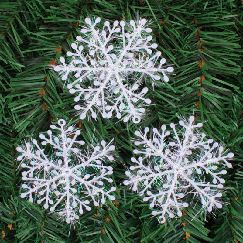 6pcs 11cm Christmas Tree Decorations Snowflakes White Plastic Artificial Snow Christmas Decorations for Home Freeshipping