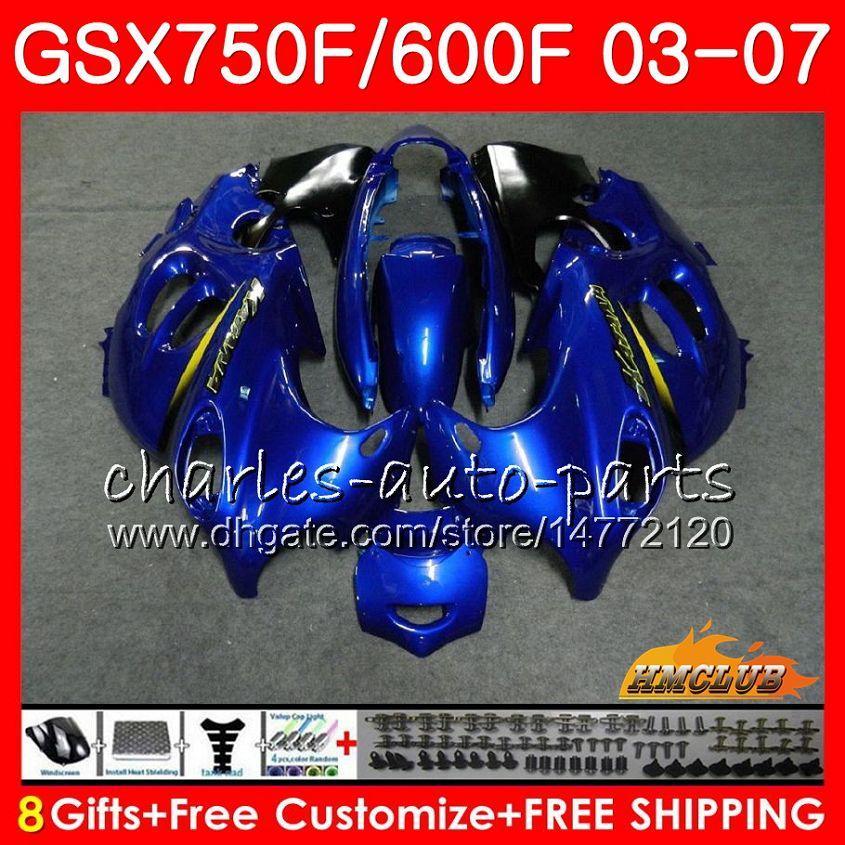 Lichaam voor Suzuki Katana Stock Blue GSXF750 GSXF600 2003 2004 2005 2006 2007 3HC.23 GSX600F GSX750F GSXF 600 750 03 04 05 06 07 Fairing Kit