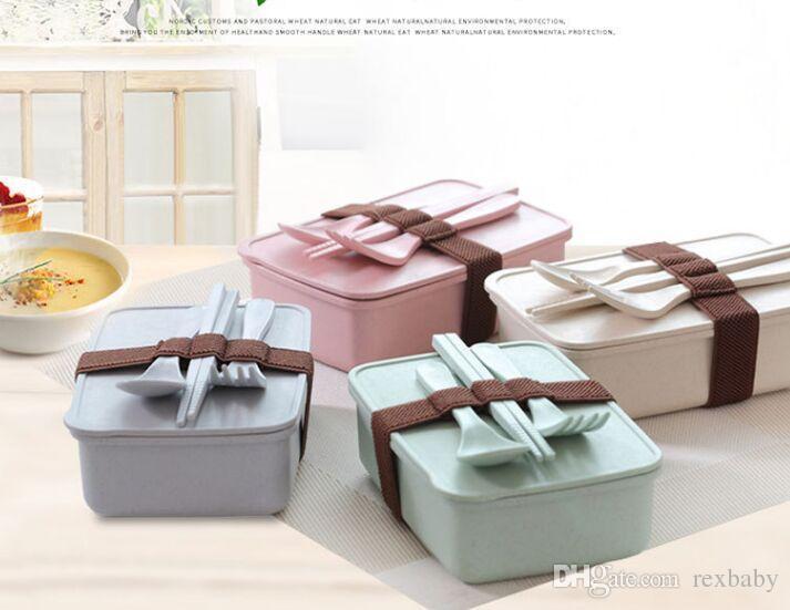 Caixa De Bento De Fibra De bambu Não Slip Lunch Case Espessamento Seal Up Jantar Balde Faca Garfo Pauzinhos Em Anexo 5 * 11 * 16 cm