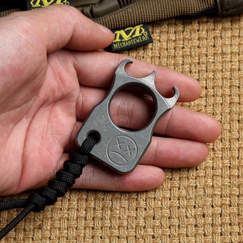 DICORIA Andy Frankart SFK bague unique TC4 Titane punch poignards en plein air boucle Survie EDC Knuck knuckles Multi outils