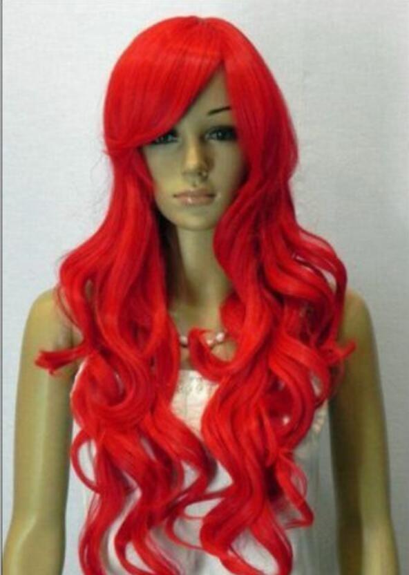 WIG FREE SHIPPING Résistant à la chaleur Chaude Party hairNoble perruques de femmes brillantes rouge long bouclés + filet de cheveuxE155