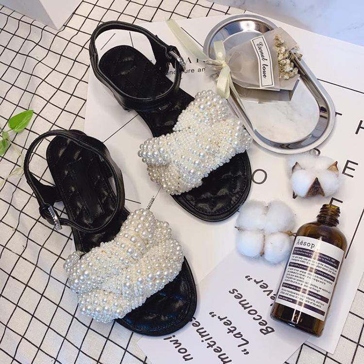 sandales boucle perle femme semelle plate sandales chaîne perle de diamant en peau de mouton électro-fille brodée mode en cuir