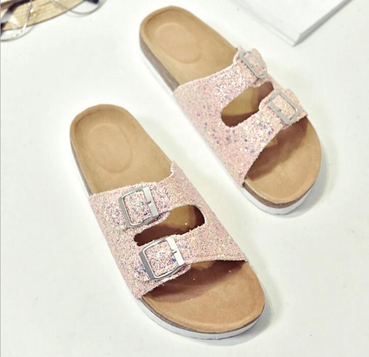 30pairs del verano caliente de las mujeres de los planos zapatillas sandalias de corcho mujeres zapatos casuales imprimen colores mezclados tamaño 35-40 lll