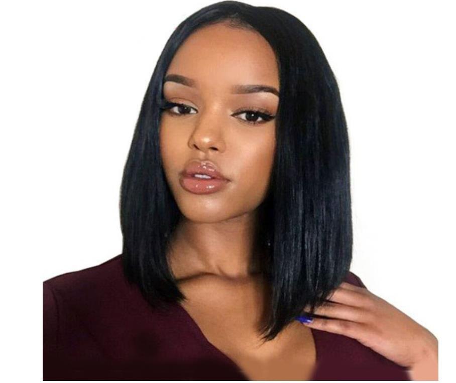 Perruque de vrais cheveux perruques avant de dentelle de fibres chimiques point milieu bobo bobo tête perruque perruque noire dame cheveux courts