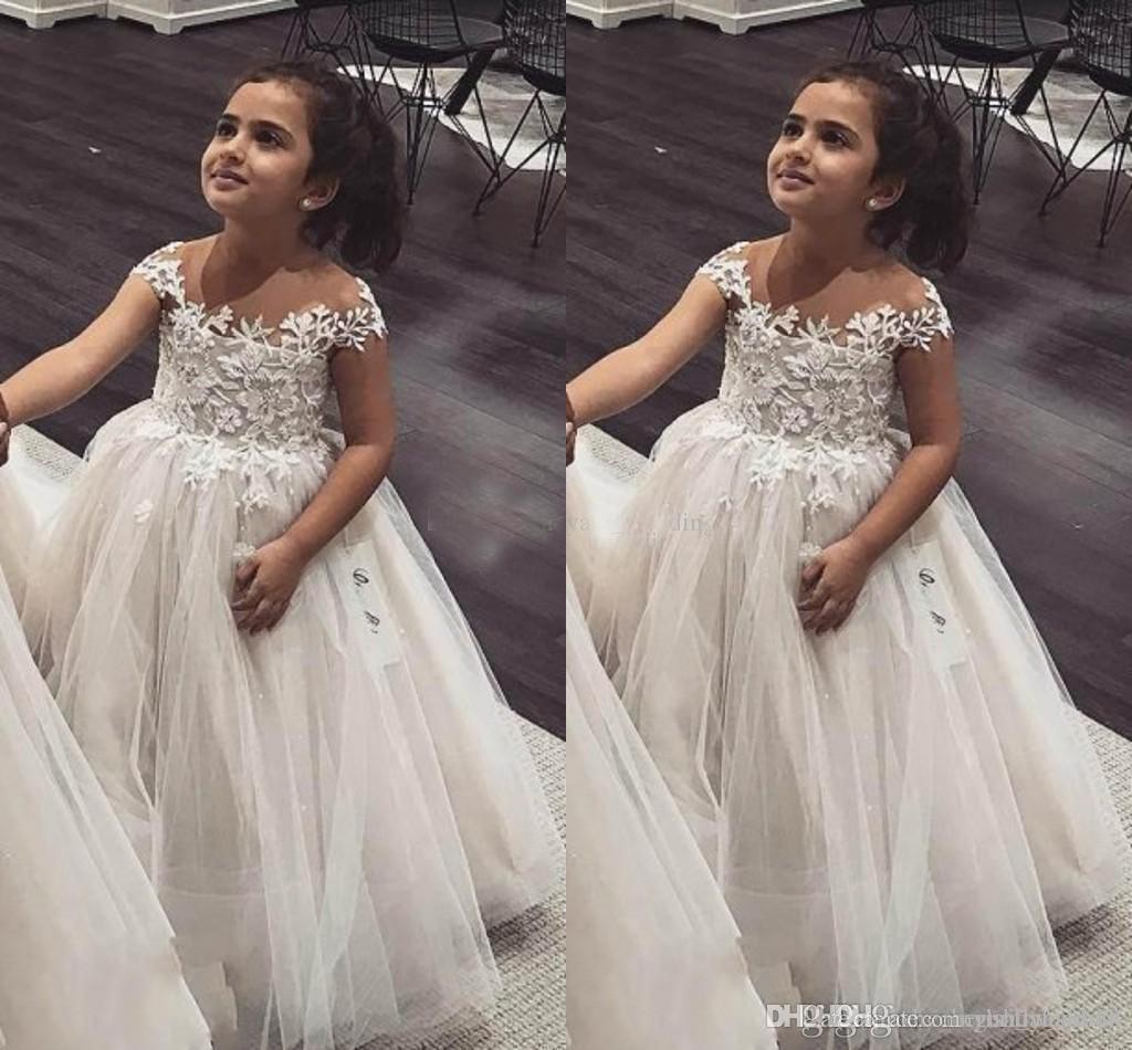 Vestido de baile Flor Meninas Vestidos Sheer Neck Cap Mangas Lace Tulle Princesa Crianças Vestidos de Casamento Infantil Criança Festa De Aniversário Dresses7857