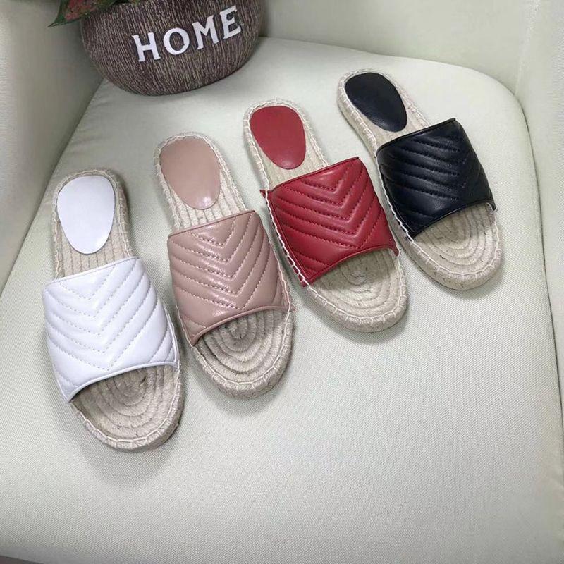 Pelle Donna Espadrille Stripes Sandali Moda antiscivolo Slipper Two Tone Tela sandali estivi all'aperto Beach causale Infradito