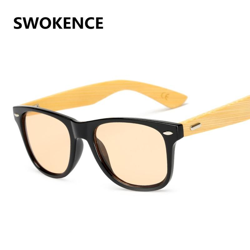 good service cheaper official SWOKENCE Bamboo Wood Handmade Sunglasses Women Men Fashion Brand Rivet  Wooden Frame Sea Colors Sun Shades Retro Glasses SA53 Sunglasses Brands  Best ...