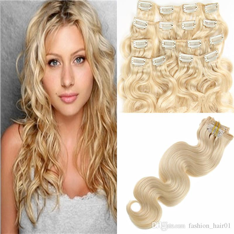 16 -24 inch Blond Black Brown wavy Clip in Human Hair Extensions 70g 100g Brazilian indian remy hair body wave free shipping