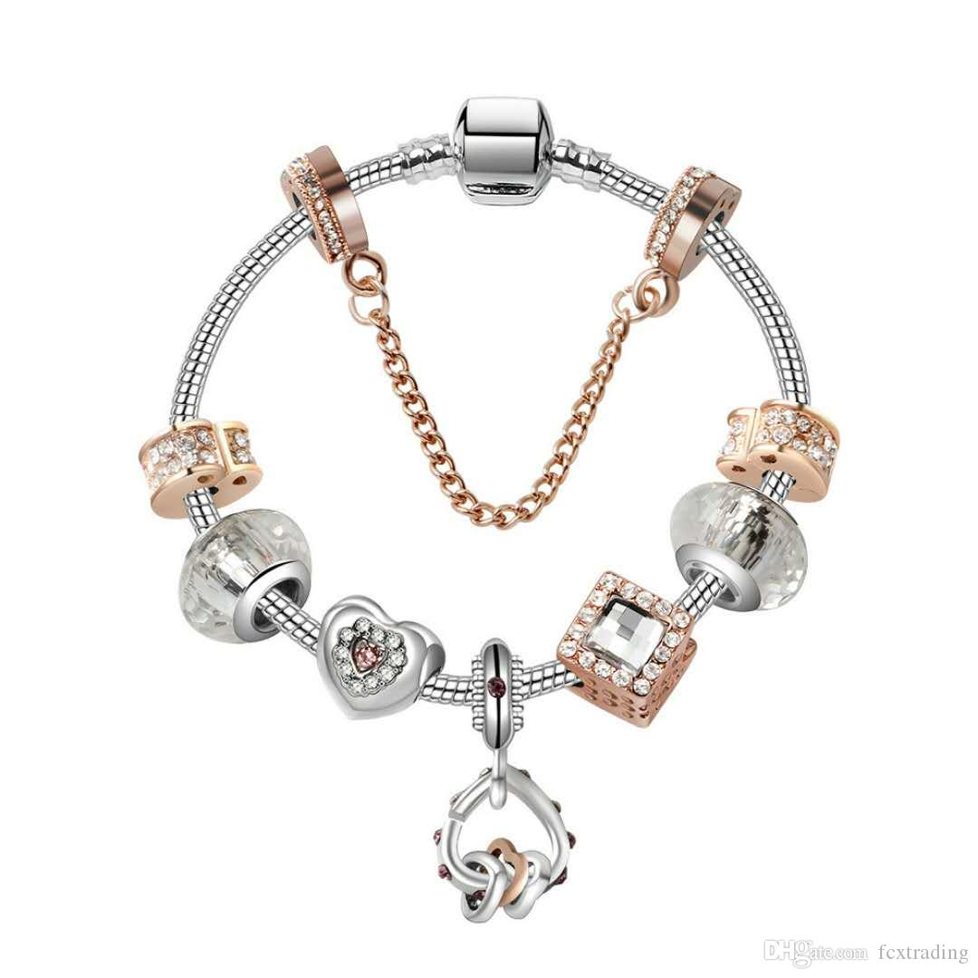 17-21CM Charm Armband 925 Silber Charme Armbänder Herz zu Herz-Anhänger Zusätze Diy Hochzeit Schmuck Valentinstag Geschenk