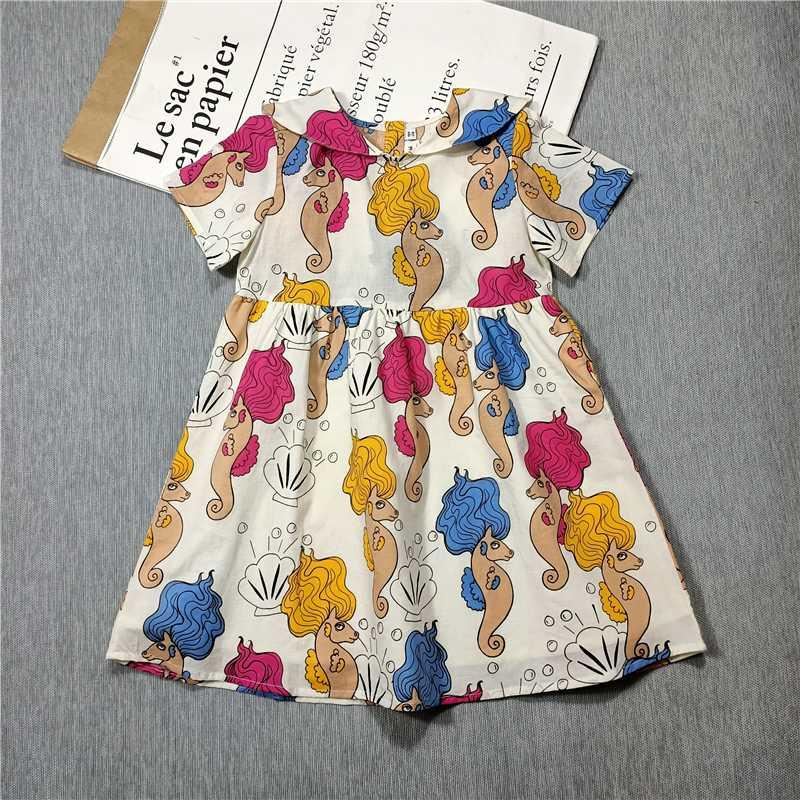 Spring and Summer 2020 new Children's Girl Dress Seahorse Mermaid print clothing