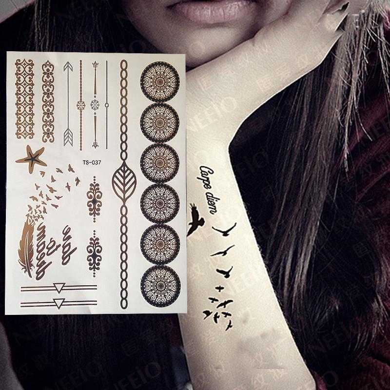 Tatuagens provisórias da borboleta 2017 do ouro, chegada nova das tatuagens instantâneas impermeáveis metálicas