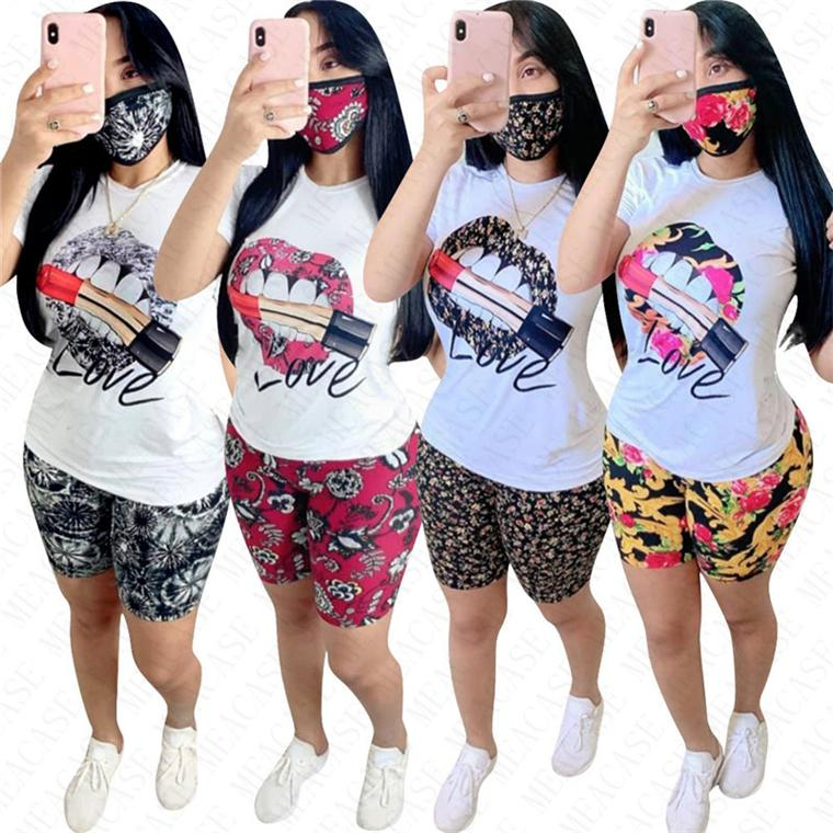 Frauen Anzug Sport Mode Blumen Lippen Druck Sommer Shorts Set Zweiteiler mit kurzen Ärmeln T-Shirt Shorts Sport Anzug D61802