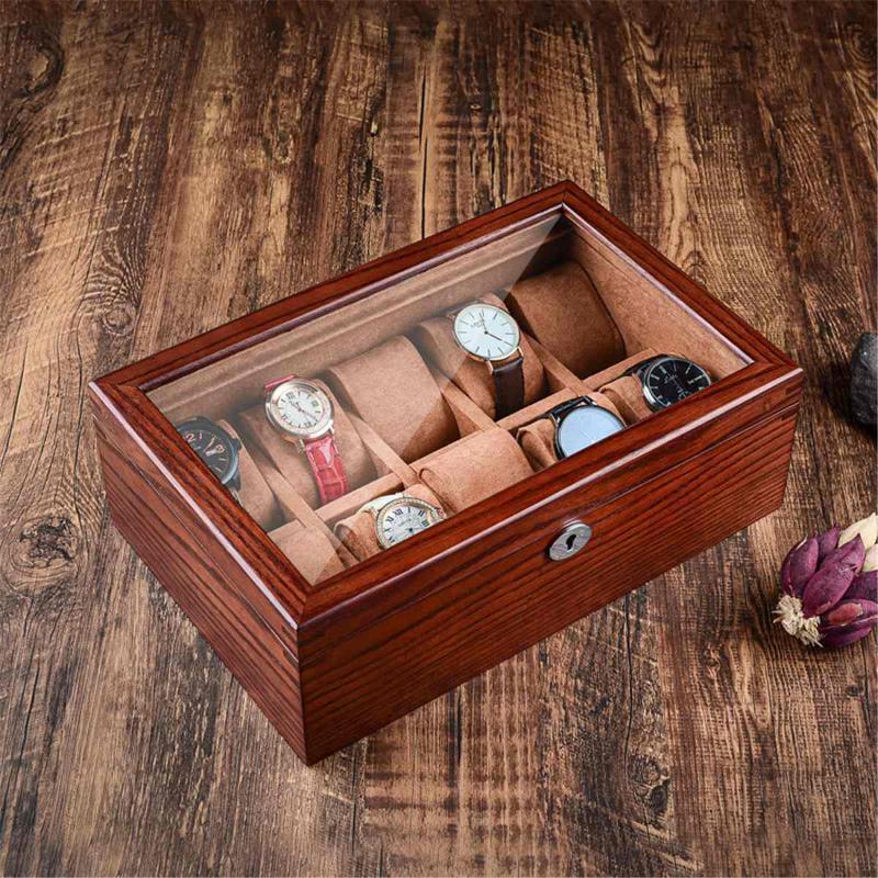 Vintage Wax Solid Wood Watch Display Box Organizer Watch деревянный футляр с окном для хранения ювелирных изделий упаковка подарочная коробка