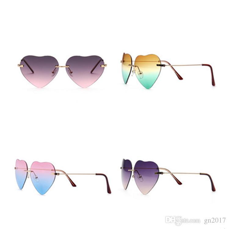 Moda Kadınlar Kalp Güneş Gözlüğü Çerçevesiz Güneş Gözlükleri Anti-Uv Gözlük Dazzle Renk Gözlük Gözlük A ++