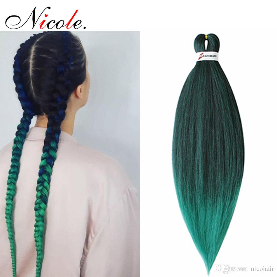 "Nicole Pre Stretched Straight Crochet Hair Easy Jumbo Braids Ombre 내열성 합성 섬유 머리카락 확장 26 ""무료 배송"