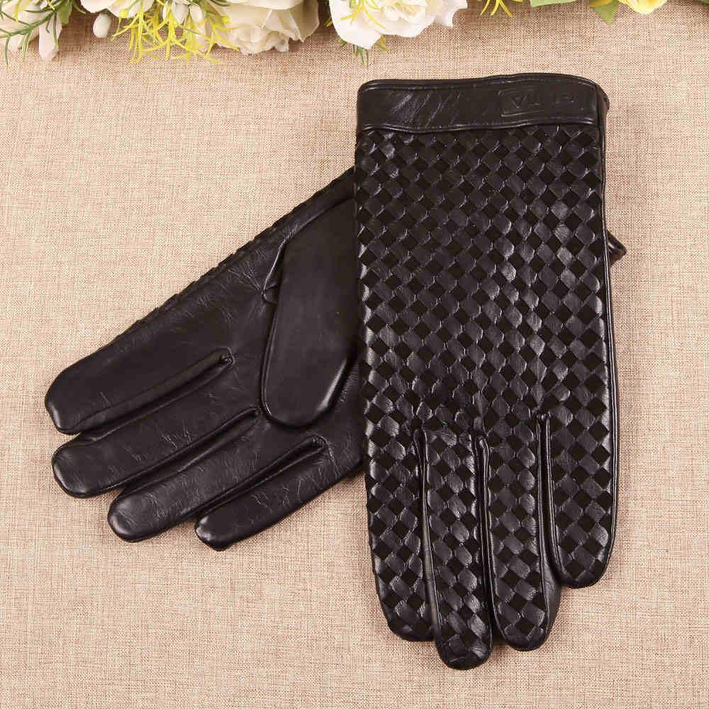 Hombres de negocios guantes de cuero genuino de alta calidad de piel de cabra Guante de otoño invierno, además de terciopelo térmica tejido manera tela escocesa EM019NC