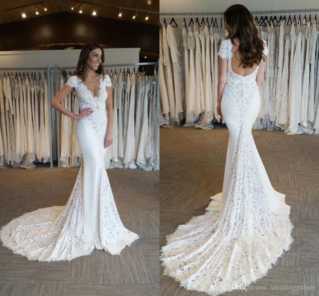 С коротким рукавом V-образным вырезом Кружева Русалка Свадебные платья Zipper назад Часовня Поезд Свадебные платья Свадебные платья невесты