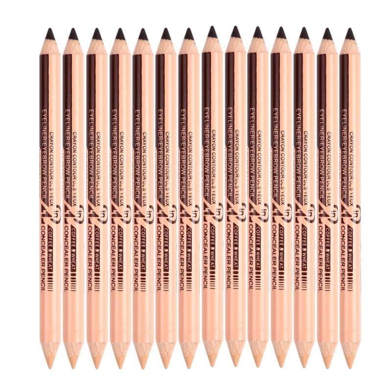 New Menow Dual Use Double-headed Black Eyeliner Pen Women Makeup Eyes Eyebrow Pencil Concealer Pen Natual Waterproof Matte TSLM1