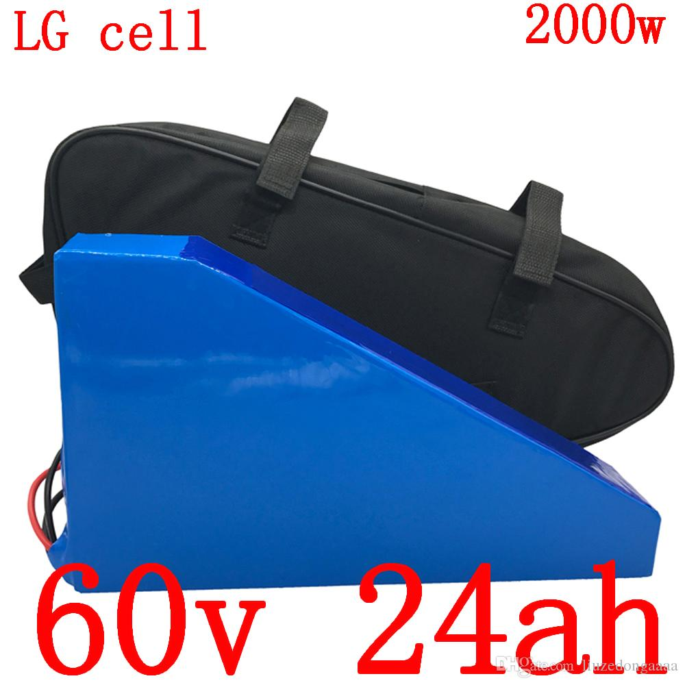 60V 1500W 2000W 2500W Lithium battery 60V 24AH 60V electric bicycle battery scooter use LG mobile phone battery charger with 5A duty free