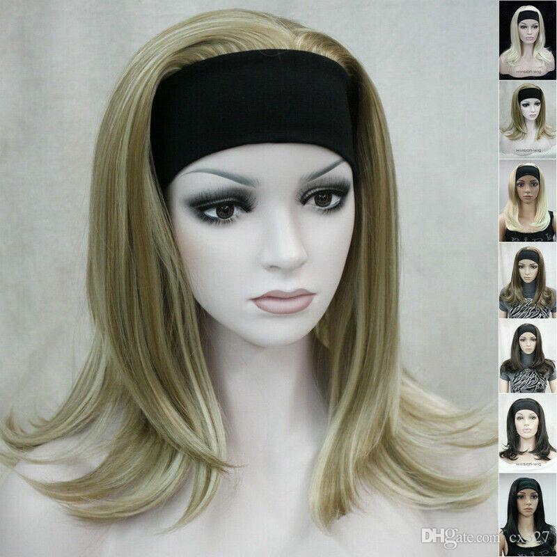 8 colores 3/4 La mitad de la peluca larga recta señora de las mujeres diadema Cosplay