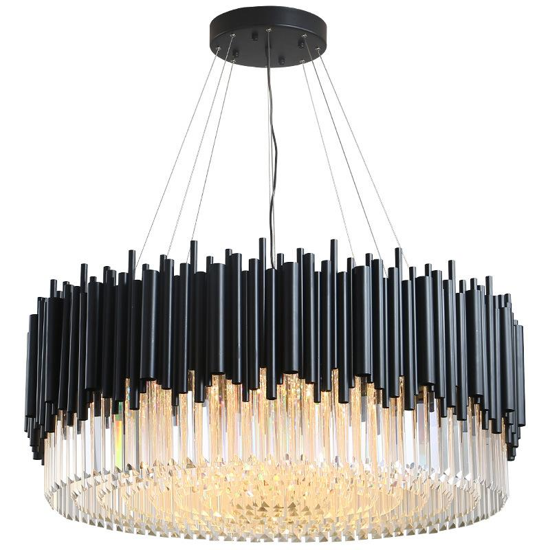 Black Modern Chandelier Lighting Living Room Round Crystal Lamps Large Home Decor Light Fixtures Luxury Cristallo Lampadario Chandelier Shades Small Chandeliers From Warriors007 641 71 Dhgate Com