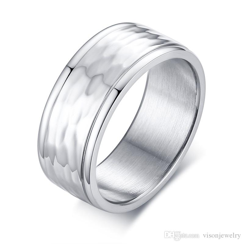Free Engraving Stackable Ring 8mm Silver Hammer Ring in Stainless Steel