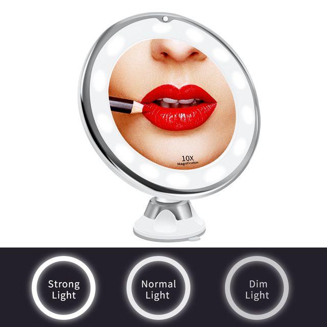 LED espejo de maquillaje luz del espejo de aumento Miroir espejo de aumento con luz LED Grossissant 10x espejos de vanidad Baño Ducha