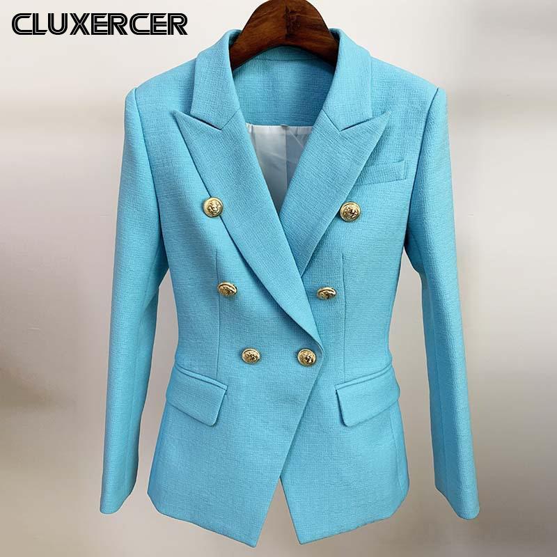 Primavera Autunno Donne Elegante Sky Blue Office signore giacca sportiva Donne Moda Solid dentellato Suit Coat Outerwear
