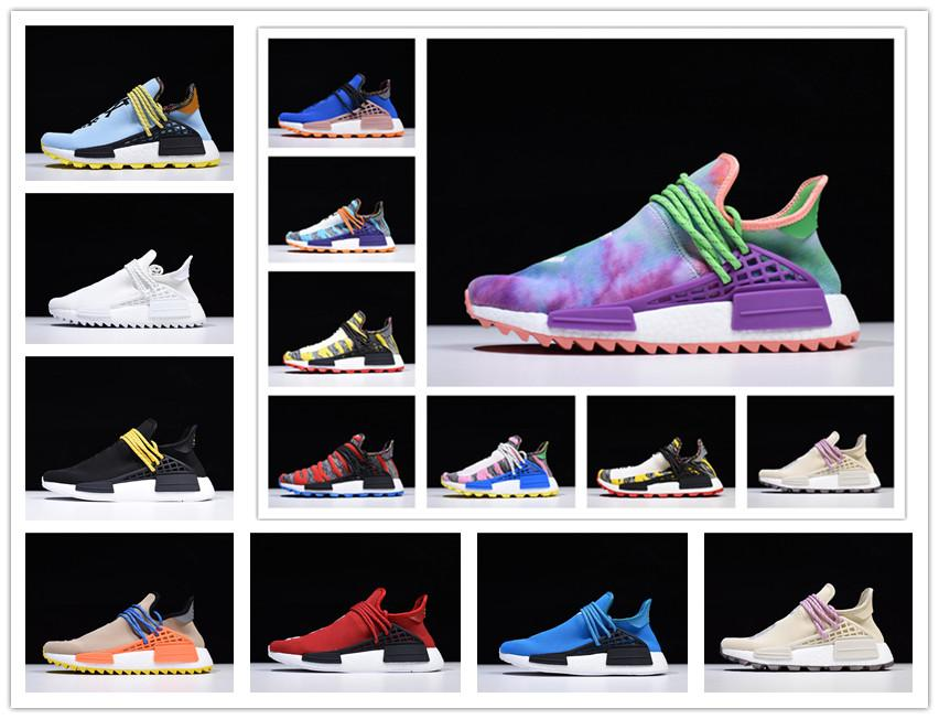 2019 Top Top NMD Human Race Hombres Mujeres Running Shoes Pharrell Williams Muestra Ejemplo Amarillo Core Black Sport Designer Shoes Sneakers 36-45