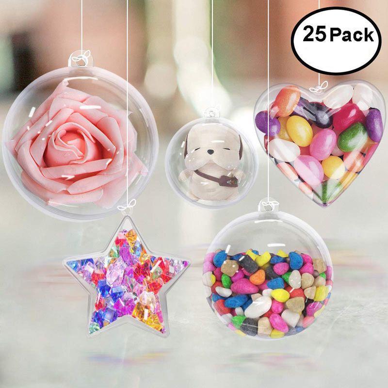 25Pcs Christmas Ball Clear Plastic Balls Bath Bomb Mold Wedding Party DIY Hanging Navidad Ornaments Decoration Candy Gifts Box