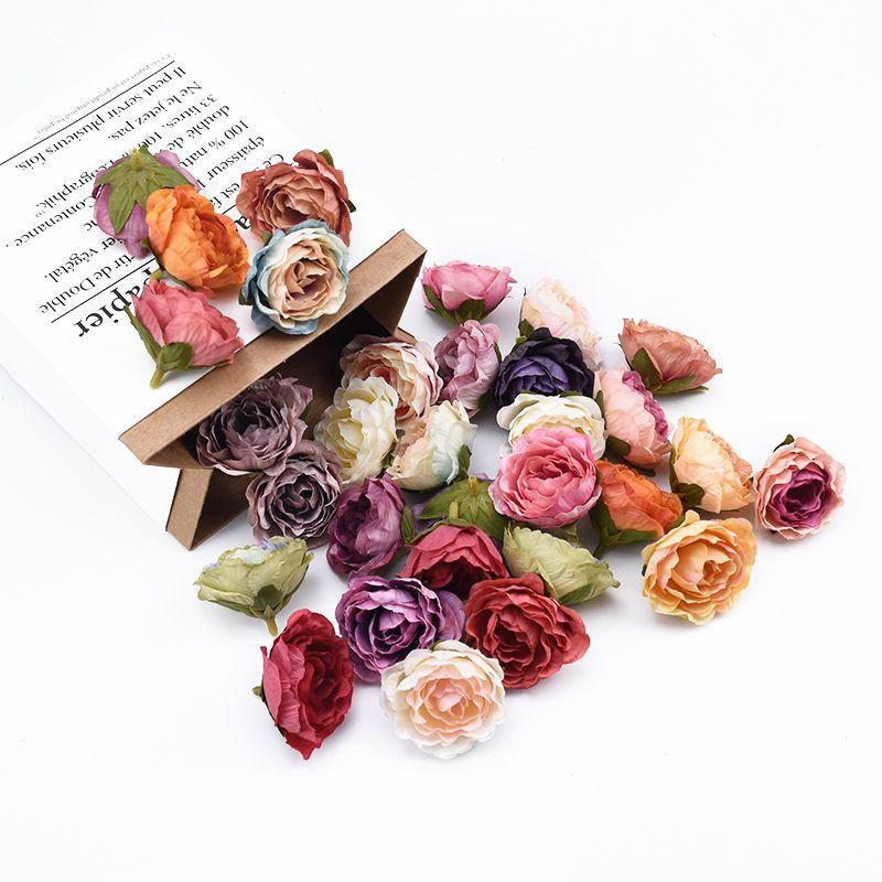 100pcs seda rosas boda cabeza aclaramiento accesorios nupciales decoración de la Navidad del libro de recuerdos para el hogar regalos de DIY caja de flores artificiales