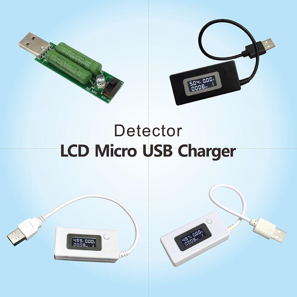 Outils LCD Micro USB Chargeur Capacité de batterie testeur de tension actuel compteur Détecteur Noir / Couleur Blanc + Résistance de charge 2A / 1A avec commutateur