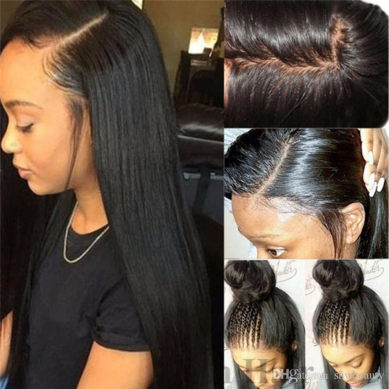 Completa humano laço perucas de cabelo Silk Top Glueless Longo Liso Preto Cor Pré arrancada Livre Parte Virgin brasileira Lacefront peruca de cabelo bonito Wi