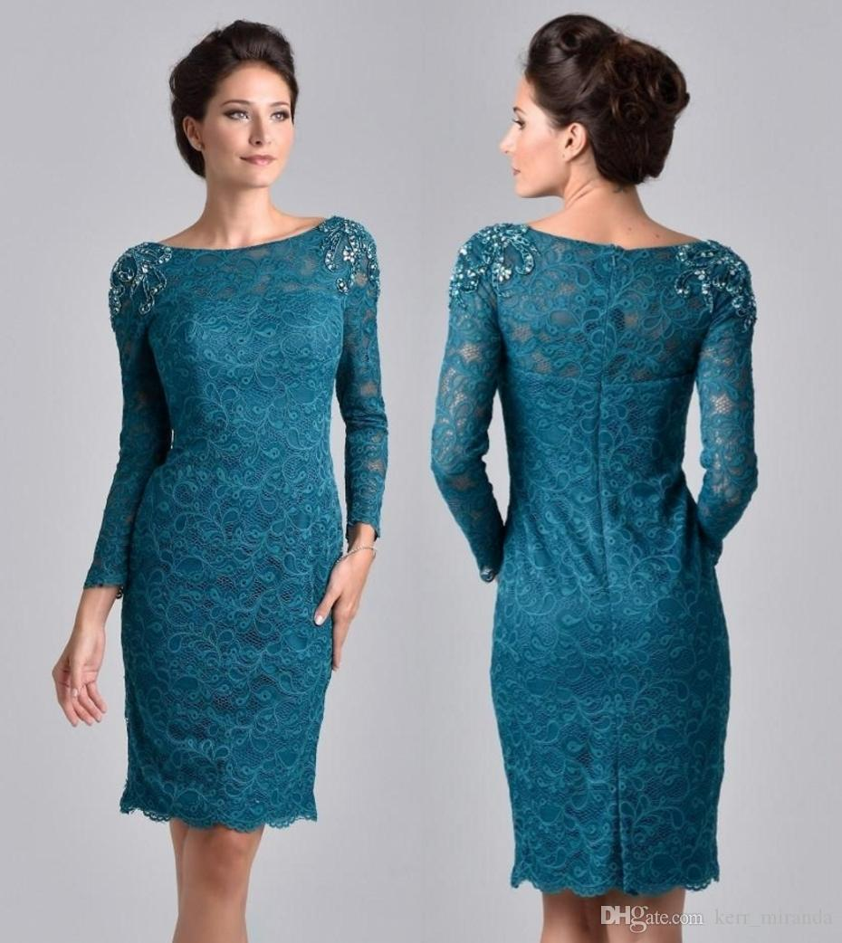 Plus Size Knee Length Teal Blue Lace Mother Dresses With Long Sleeve Scoop Sheath Moms Formal Party Wear