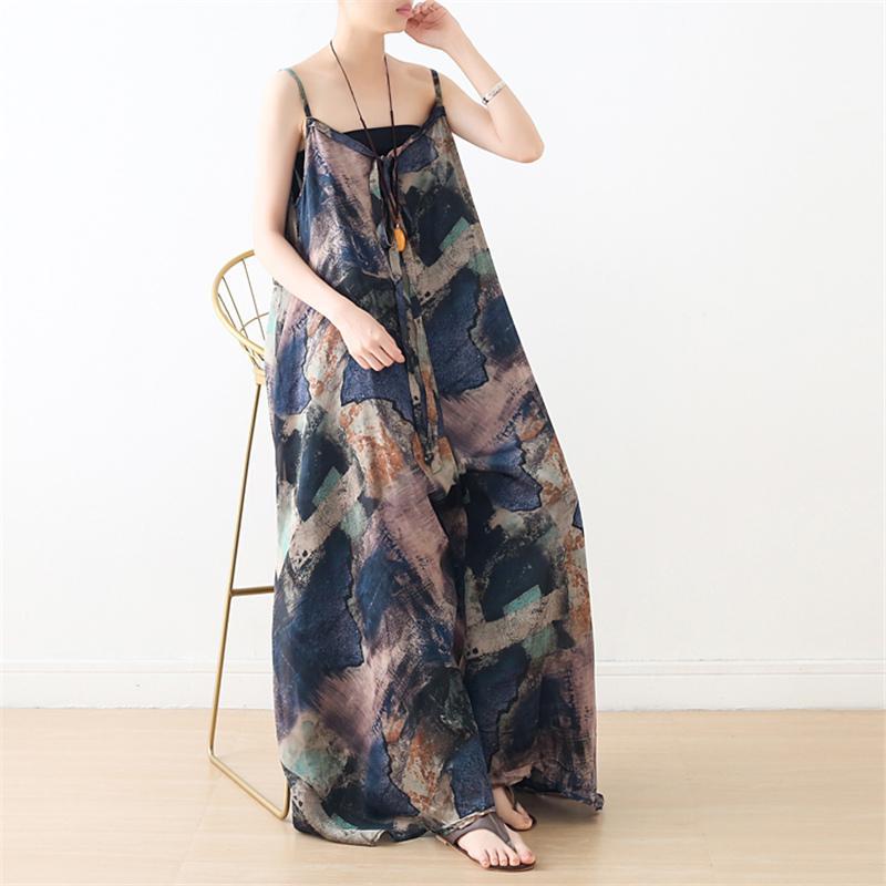 Johnature Women Summer Chiffon Jumpsuits Print Floral Vintage Sleeveless 2020 New Plus Size Women Clothing Beach Style Jumpsuits
