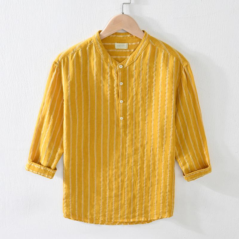 Men Fashion Japan Style Pure Linen Simple Design Striped Stand Collar Three Quarter T-shirts Male Smart Casual Pullover Tee