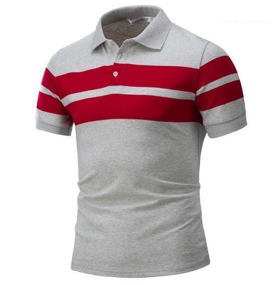 Printed Polos Mode Short Sleeve natürliche Farben Polos beiläufige dünne Colar T Shirts Stehen Herrenmode Herren Designer-Streifen