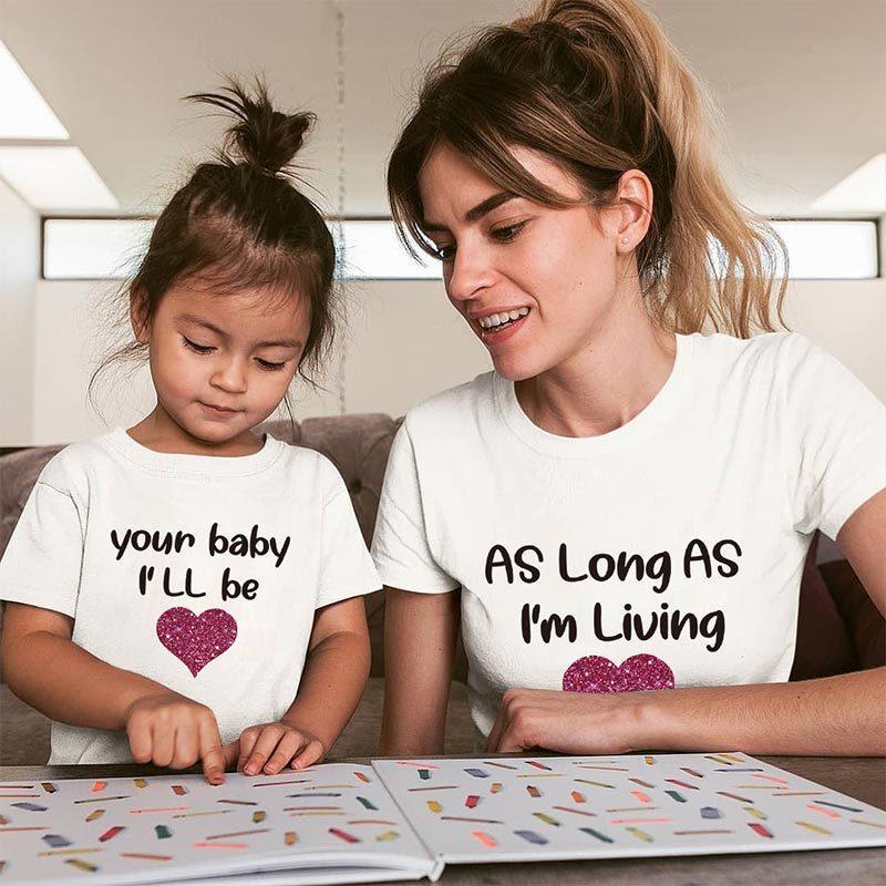 Семья соответствующие наряды лето мать дочь сердце хлопок футболка одежда мама и я ребенок Письмо печати футболка семейный вид Новый