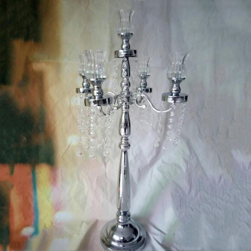 Silver 5 Heads Candelabra crystal Candle Holder with Glass Candle Cups Exquisite Design Wedding Centerpiece with Pendants senyu0363