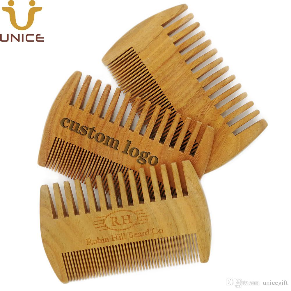 MOQ 50 pcs Good Quality Amazon Hot Sale Green Sandalwood Combs Double Sided Beard Comb Head & Facial Hair Comb for Man
