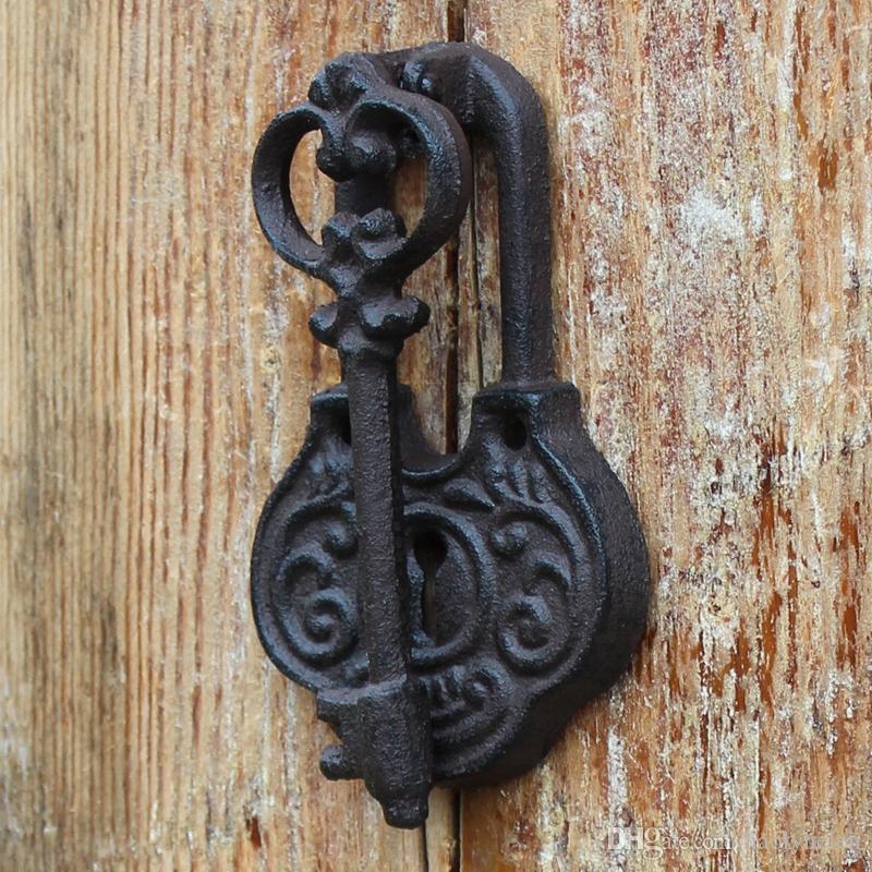 2 Pieces Key Design Cast Iron Door Knocker Home Decoration Doorknocker Doorlatch Gate Decor Antique Style Brown Finish Retro Vintage Metal Crafts Ornament