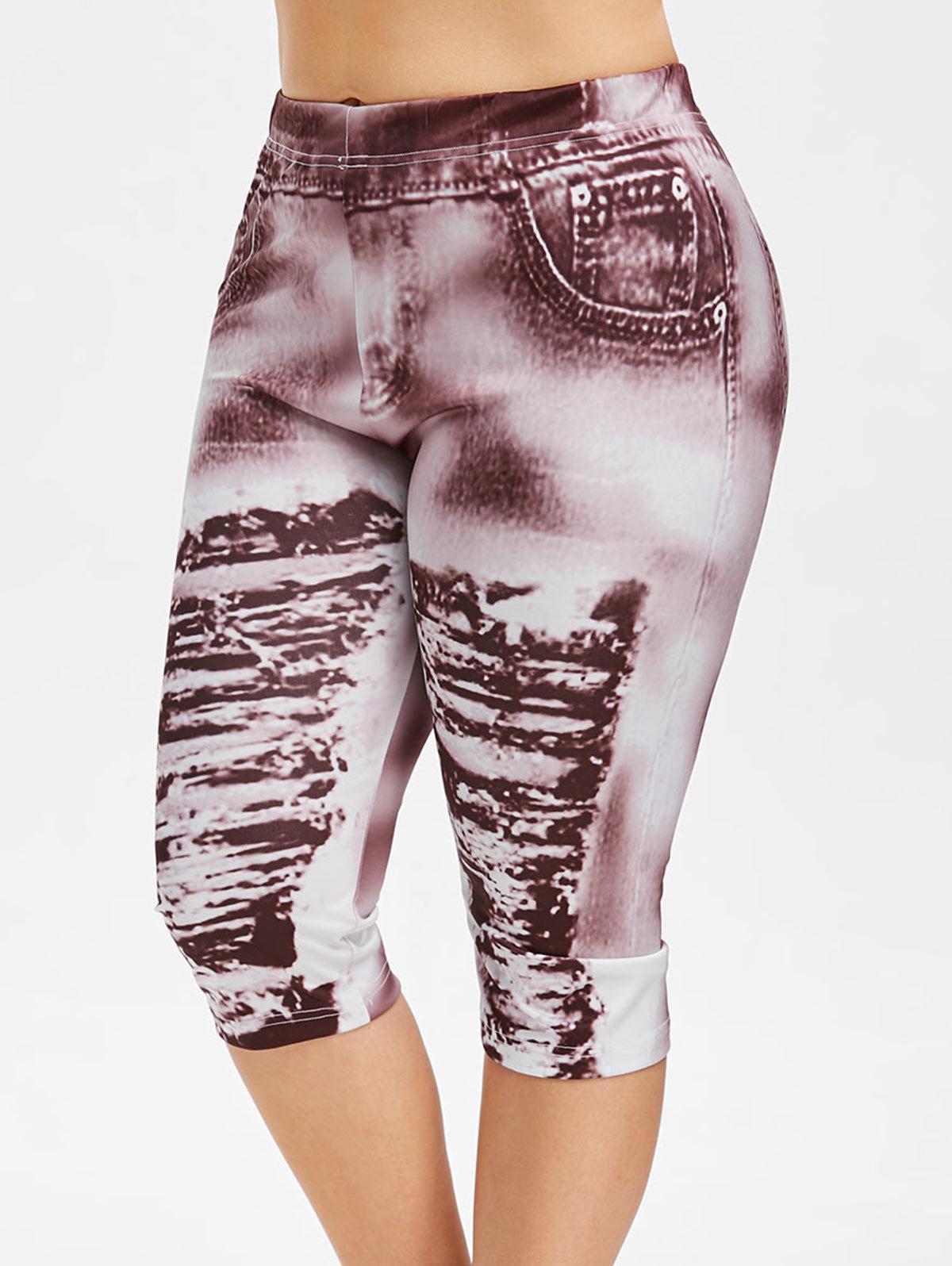 Wipalo Plus Size 3d strappato Jean Print Legging Estate Donna Moda Leggings skinny Vita alta elastica Pantaloni legging Capri Donna Y19072901
