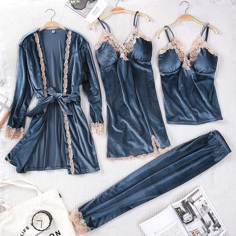 Ouro de veludo 4 peças pijamas mulheres sexy pijamas set com almofada no peito rendas de serviços casa robe calças compridas de Inverno sleepwear feminino