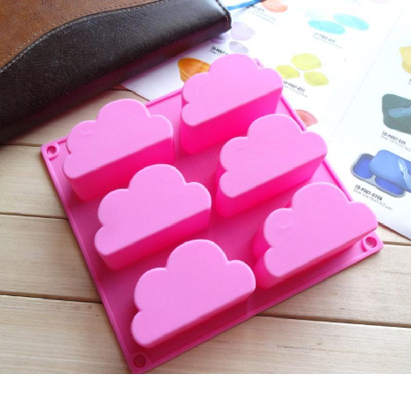 new 6 cavity cloud cupcake pans mousse cake silicone molds chocolate candy gummy gelatin soap wax molds ice cube trays
