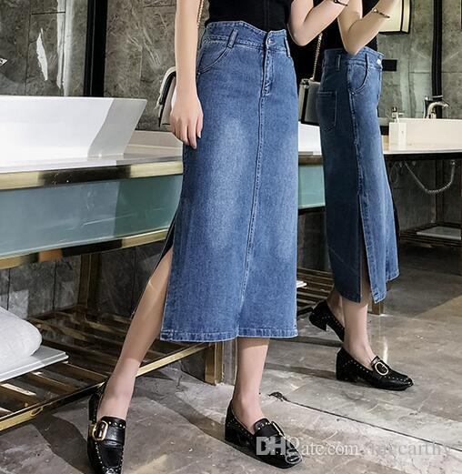 Neue Mode Denim Röcke plus Größe Baumwolle Mischung gerade beiläufige Röcke weibliche Reich Mitte der Wade Frühling Herbst Abnehmen Tyn0917