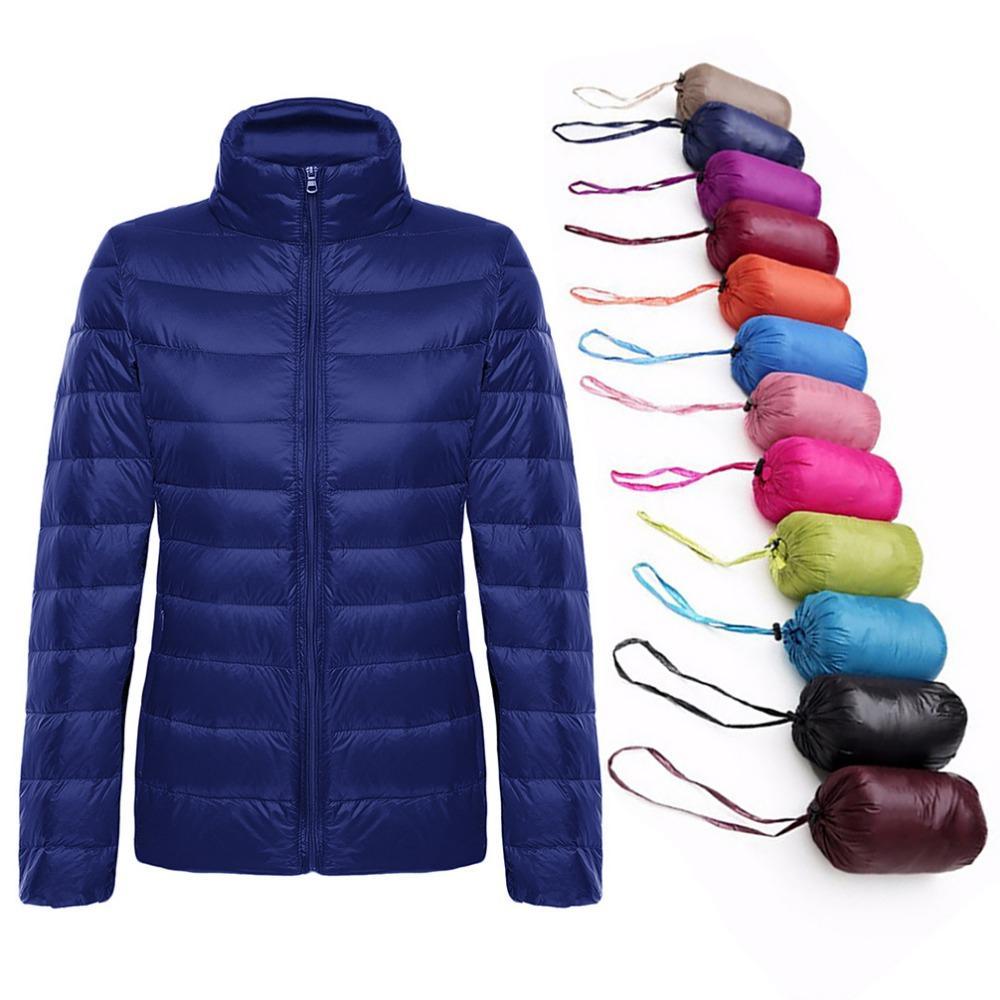 5XL 6XL Plus Size hiver femmes ultra léger duvet de canard Vestes Manteaux Femmes manches longues mince manteau chaud parka Femme Automne Outwear