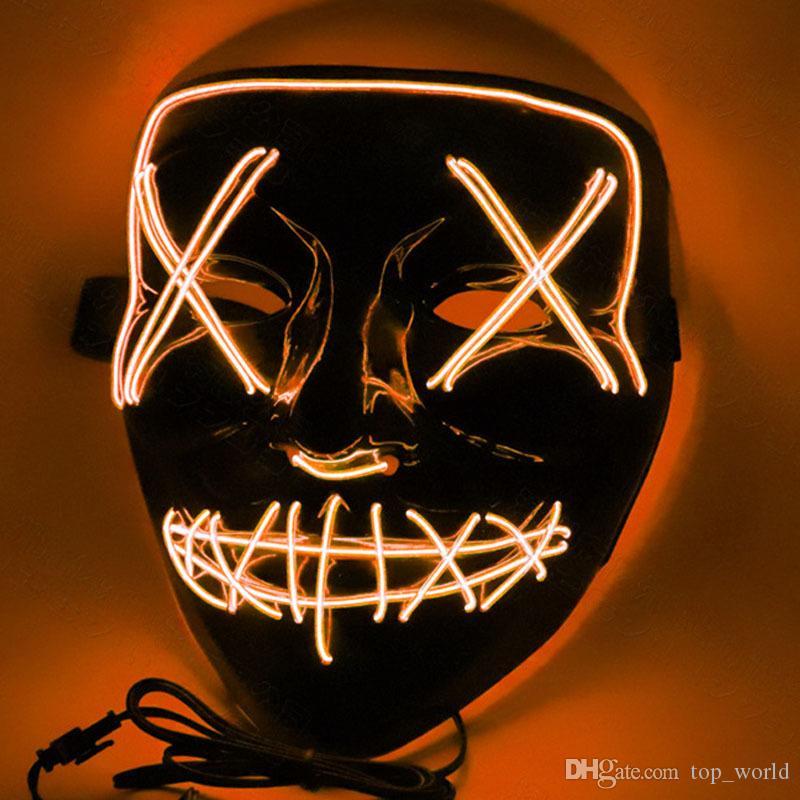 할로윈 마스크 LED 가벼운 파티 마스크 전체 얼굴 재미 있은 el 와이어 마크 빛 축제 코스프레에 대 한 어둠