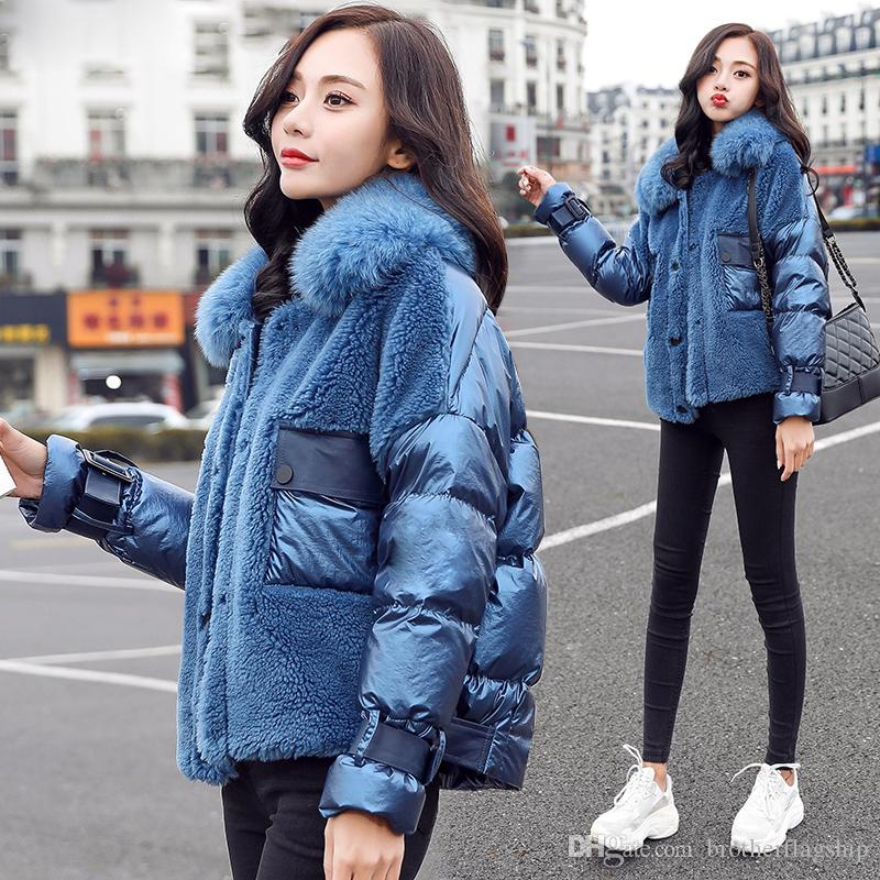 Fashion Fox Fur Collar Feather Jacket woman Winter Coat New Patchwork Lamb Wool 90% White Duck Down Coat Women Jacket
