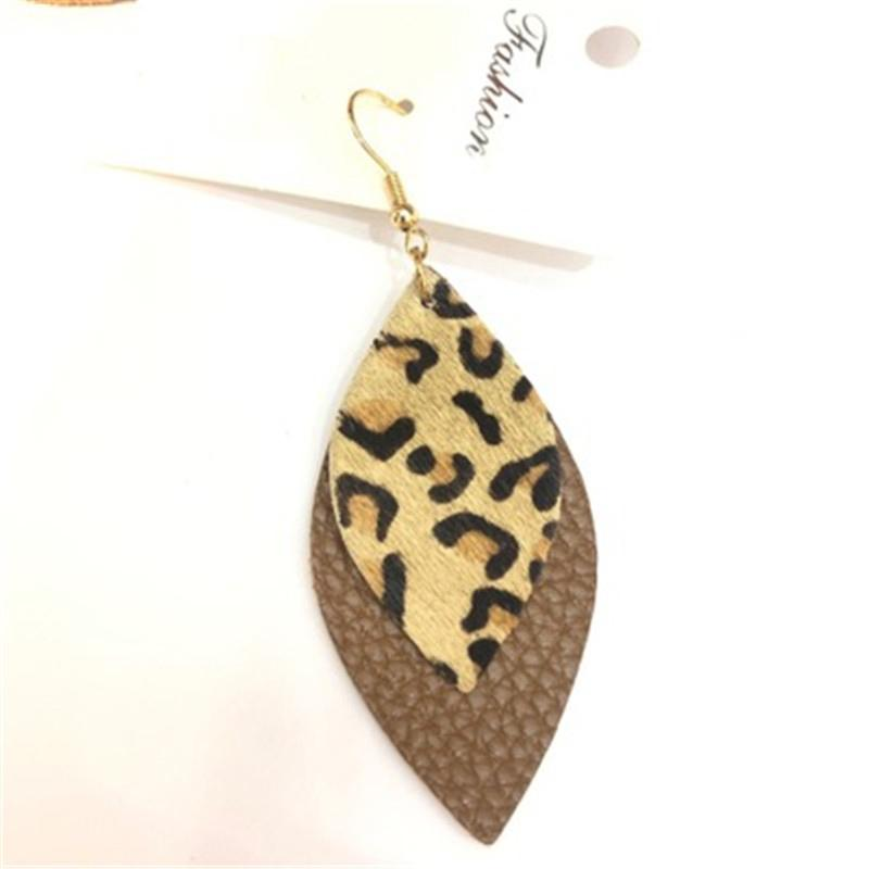 Venta mujeres Leopard PU cuero pendientes de la manera joyería de la PU de los pendientes de Declaración de la joyería de cuero largo colgantes Tear drop pendientes M262Y