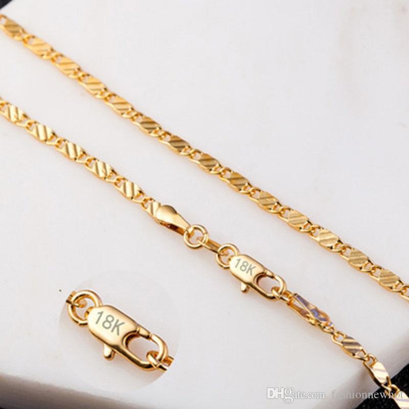 Kadınlar Erkekler 2mm 16 ~ 24Inch Charms Takı Aksesuar için 18K altın kaplama Düz Zincir kolye 925 Gümüş Kaplama Flat Link Salkım Yılan Zinciri